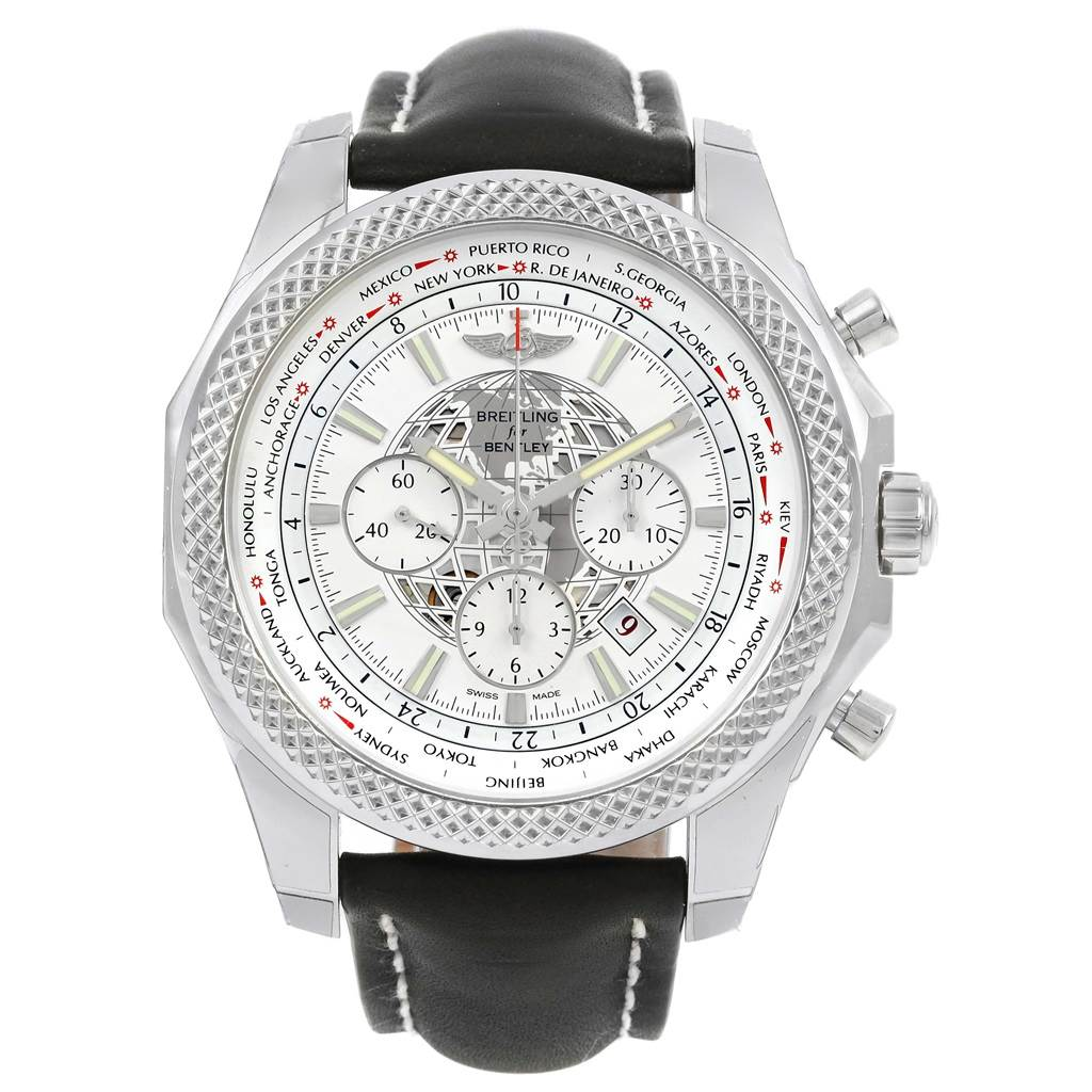 15680 Breitling Bentley GMT B05 Unitime Silver Dial Mens Watch AB0521 Unworn SwissWatchExpo