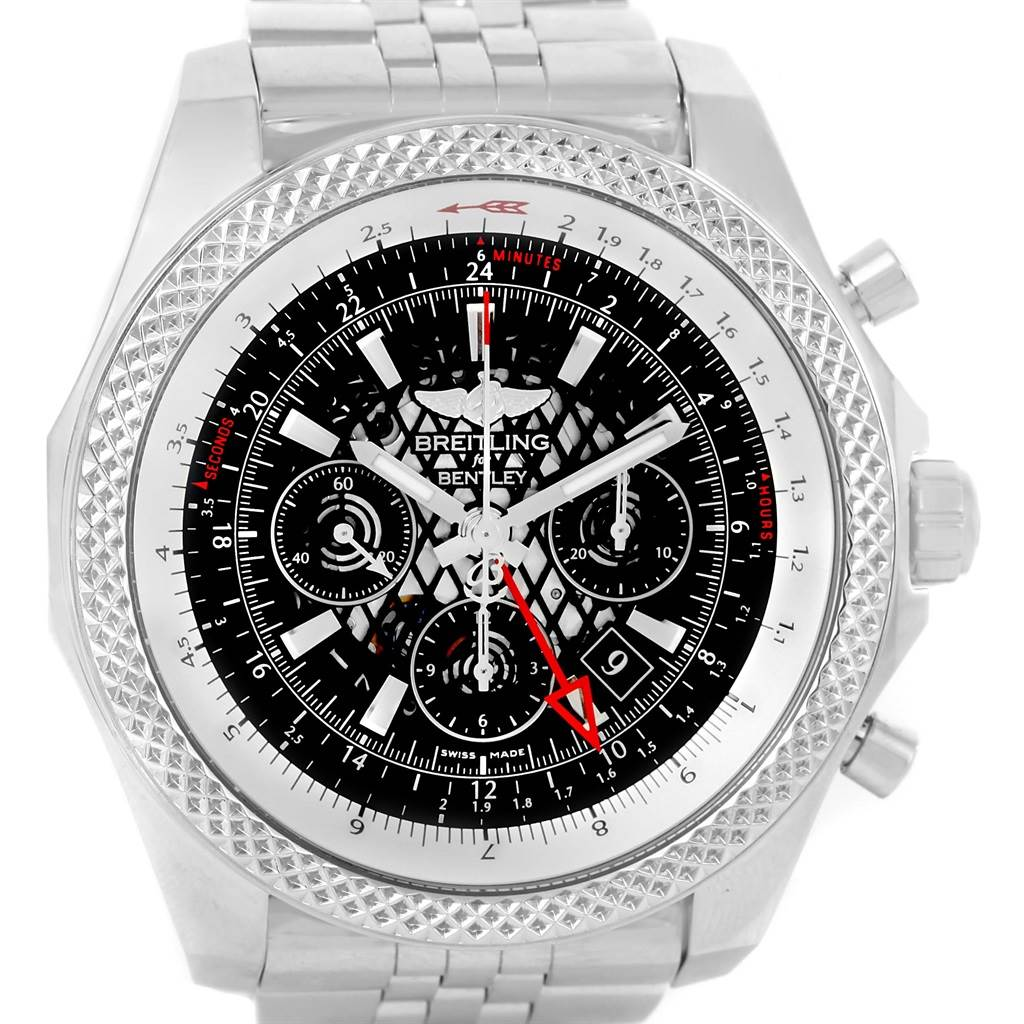 Breitling Bentley GMT Chronograph Black Dial Watch AB0431 Box Papers SwissWatchExpo