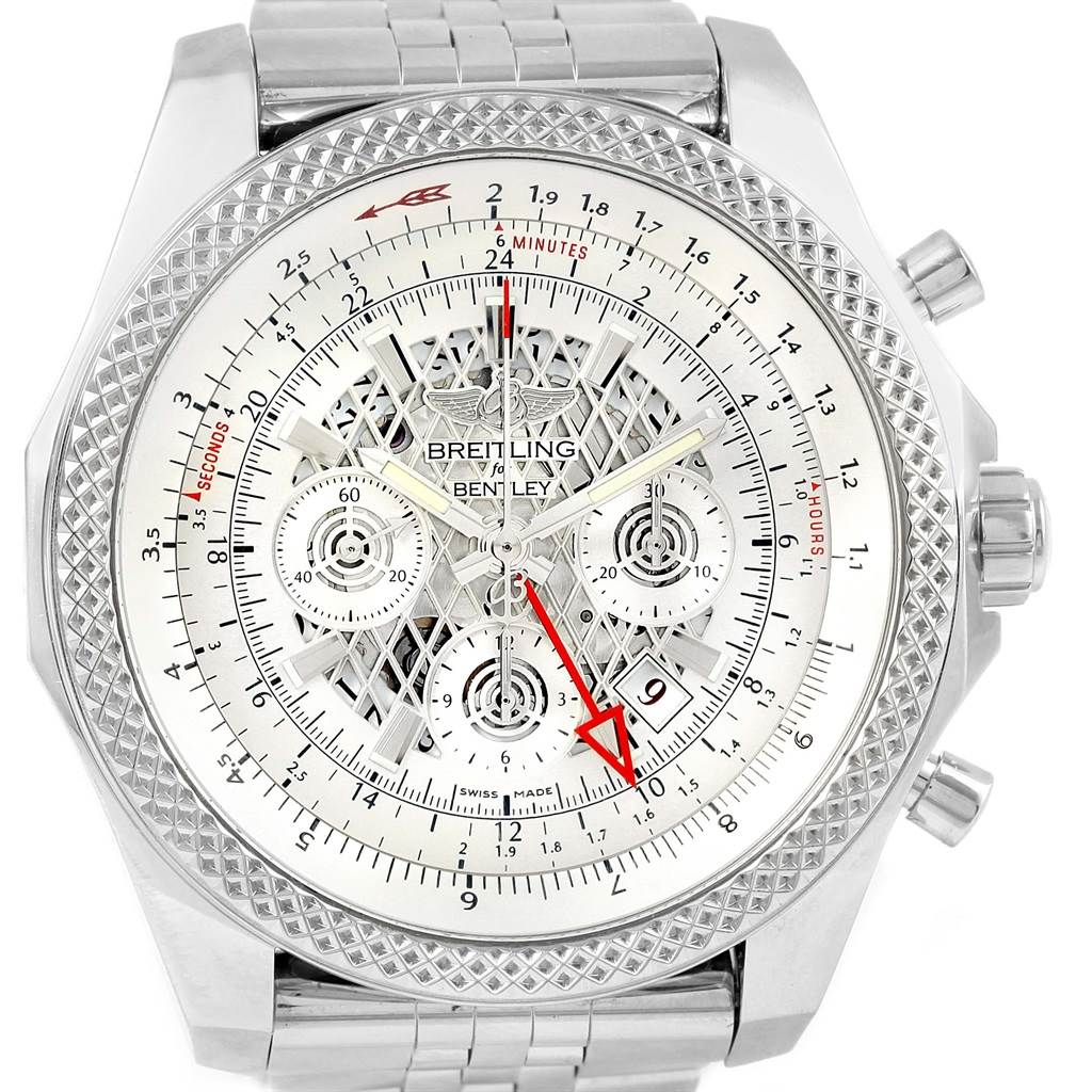 watch stainless chronograph bentley steel men mens breitling dial s unitime white