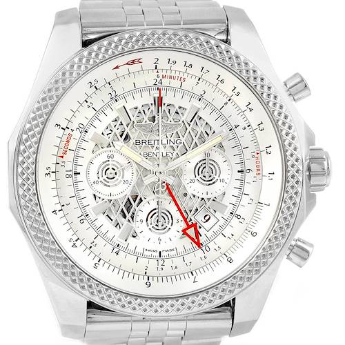 Photo of Breitling Bentley GMT Chronograph Silver Dial Watch AB0431 Box Papers