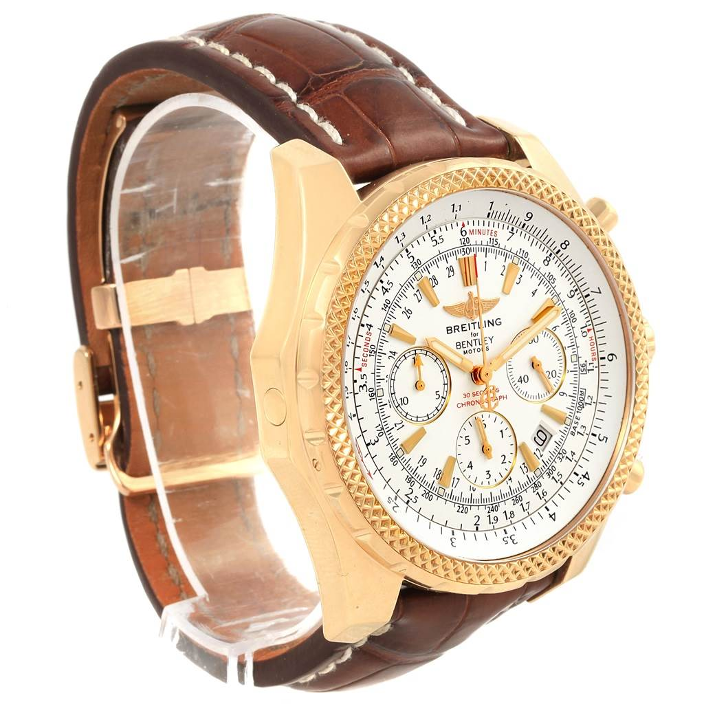 Breitling Bentley Yellow Gold White Dial Chronograph Watch K25362 SwissWatchExpo