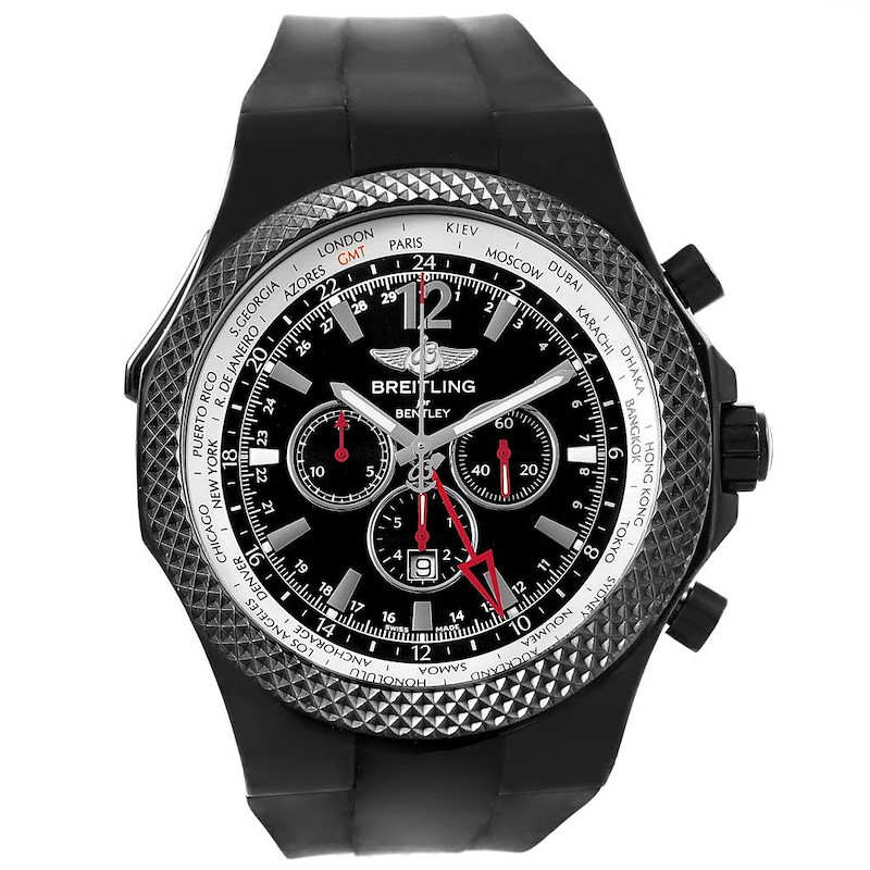 Breitling Bentley GMT Midnight Carbon Rubber Strap LE Watch M47362 SwissWatchExpo