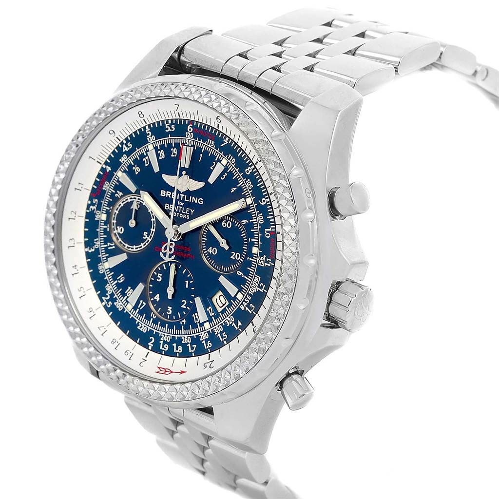Breitling Bentley Motors Blue Dial Chronograph Watch A25362 Box Papers SwissWatchExpo