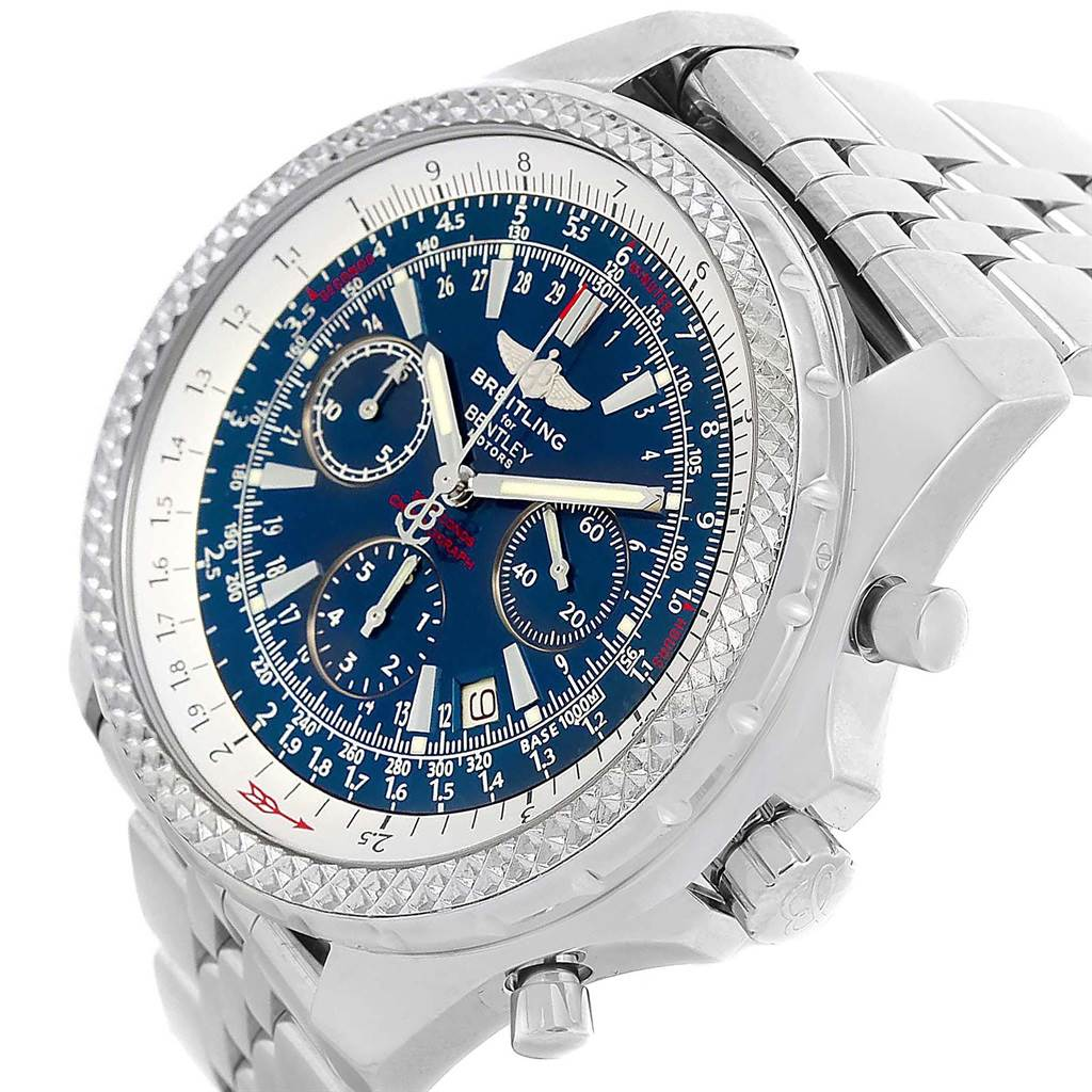 17839 Breitling Bentley Motors Blue Dial Chronograph Watch A25362 Box Papers SwissWatchExpo
