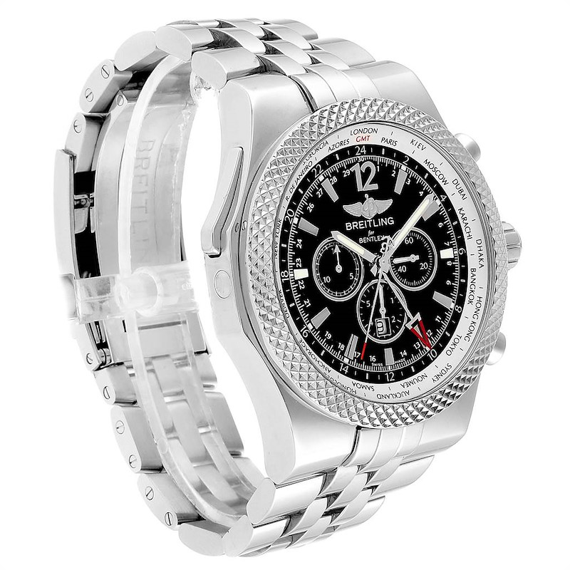 Breitling Bentley GMT Black Dial Chronograph Steel Mens Watch A47362 SwissWatchExpo