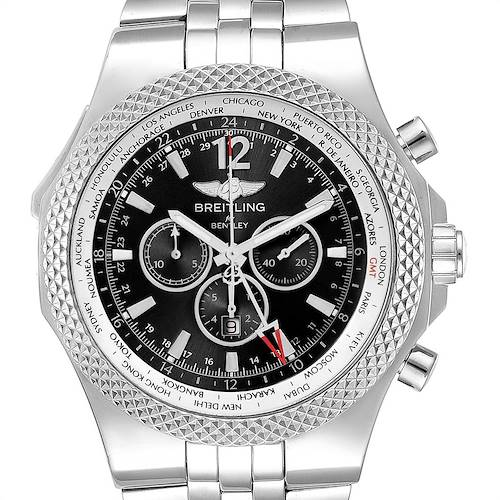 Photo of Breitling Bentley GMT Black Dial Chronograph Steel Mens Watch A47362