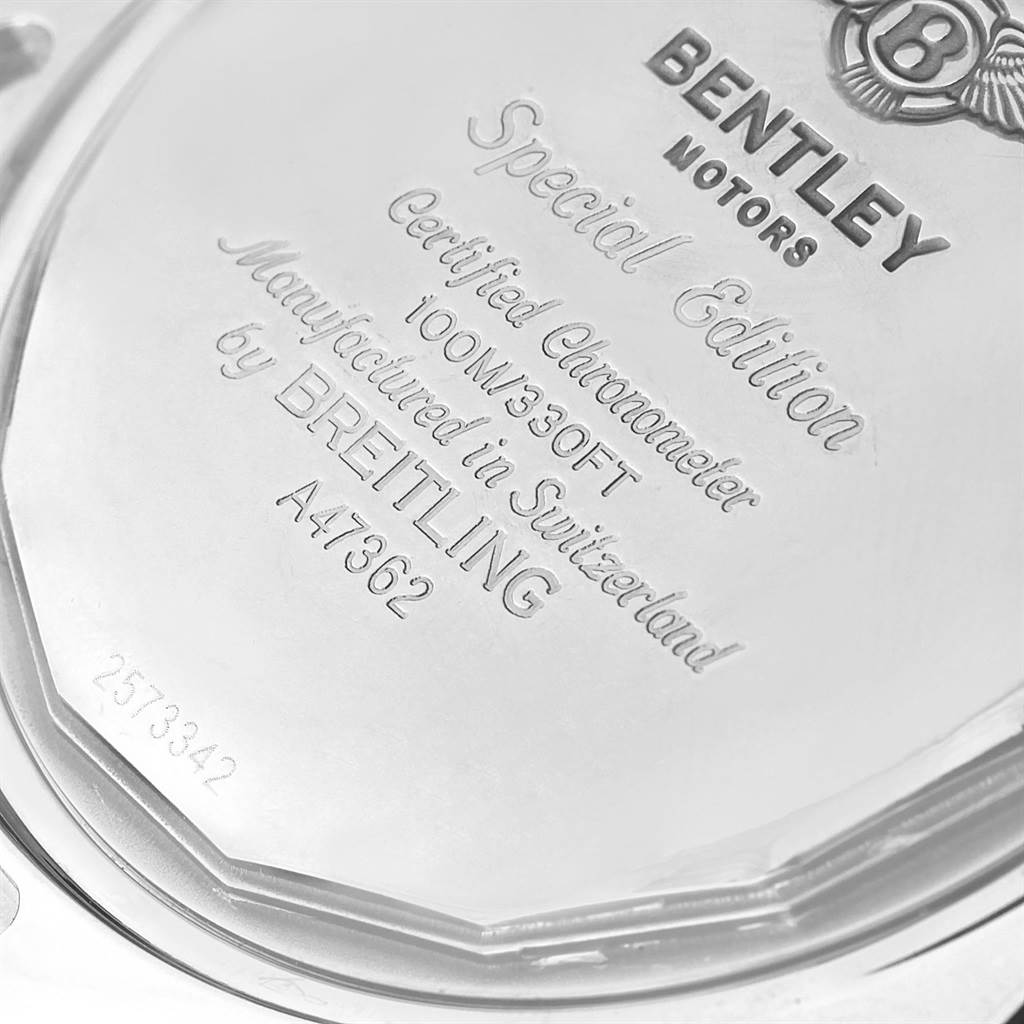 18233 Breitling Bentley GMT Grey Dial Chronograph Steel Mens Watch A47362 SwissWatchExpo