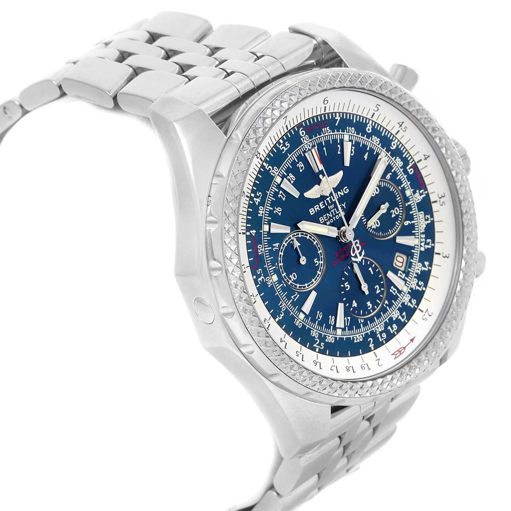 Breitling Bentley Motors Blue Dial Chrono Mens Watch A25362 Box Papers SwissWatchExpo