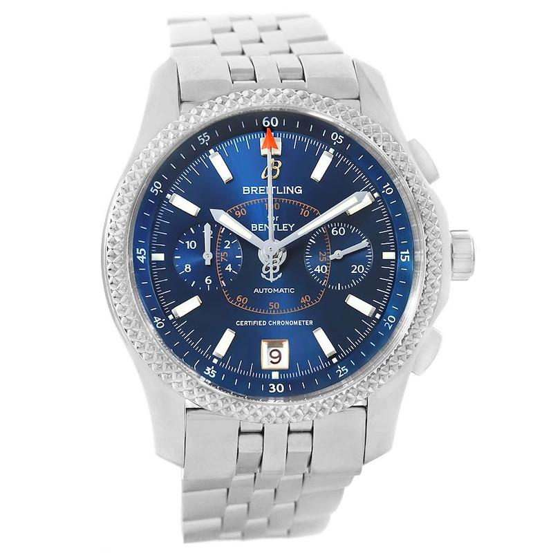 Breitling Bentley Mark VI Blue Dial Mens Steel Platinum Watch P26362 Box Papers SwissWatchExpo