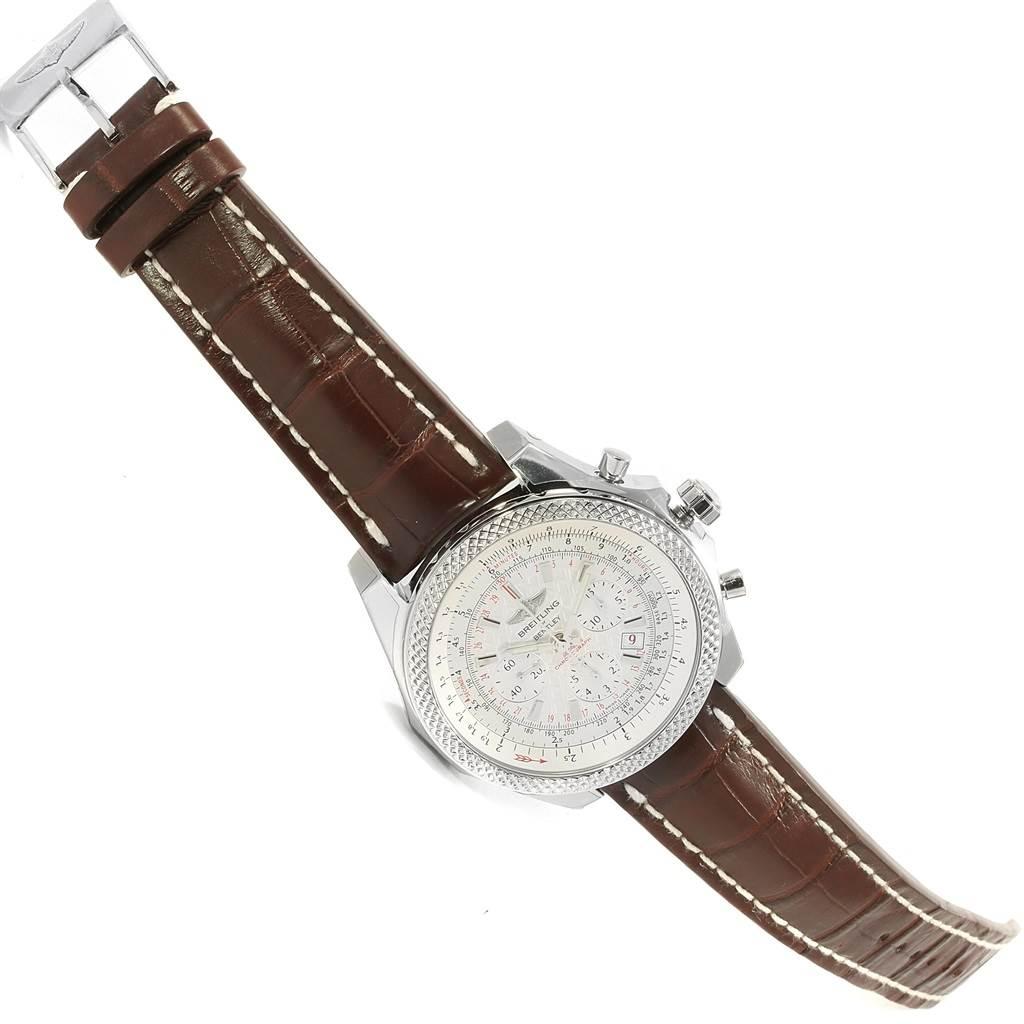 18690 Breitling Bentley B06 Silver Dial Brown Strap Watch AB0611 Unworn SwissWatchExpo