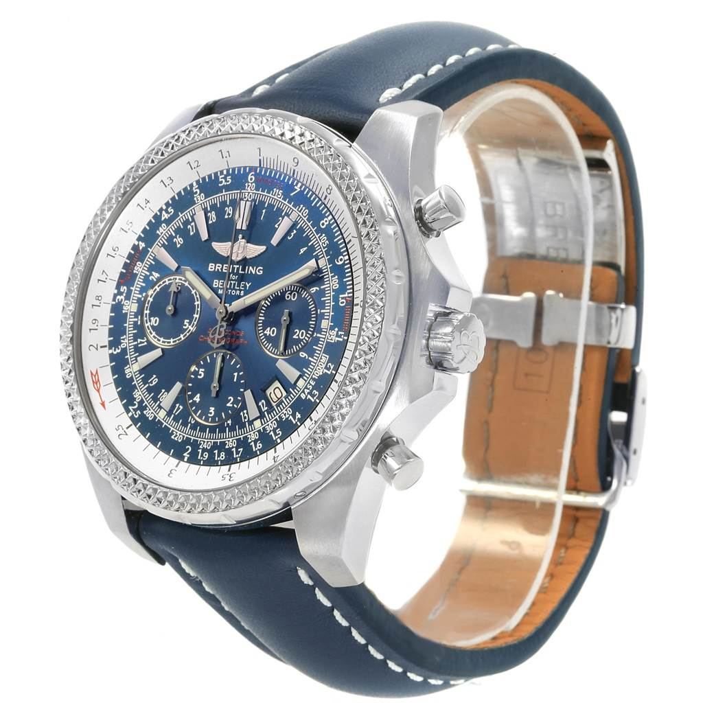 Breitling Bentley Motors T Blue Dial Leather Strap Mens Watch A25363 SwissWatchExpo