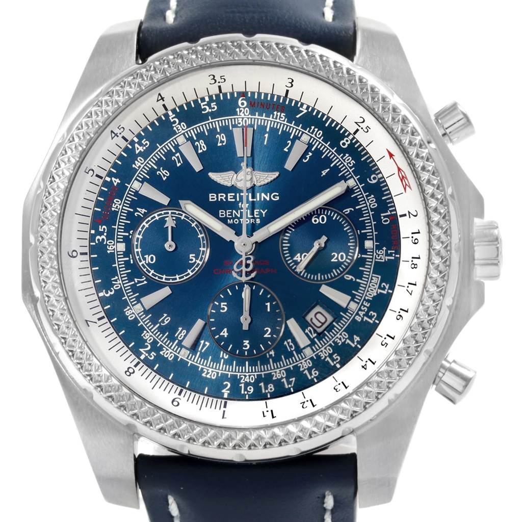 17382 Breitling Bentley Motors T Blue Dial Leather Strap Mens Watch A25363 SwissWatchExpo