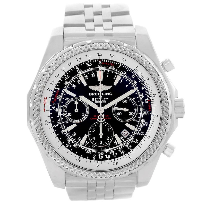 Breitling Bentley Motors Black Dial Chronograph Mens Watch A25362 SwissWatchExpo