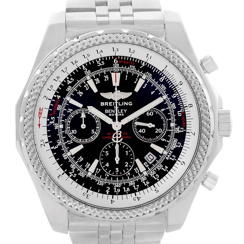18702 Breitling Bentley Motors Black Dial Chronograph Mens Watch A25362 SwissWatchExpo
