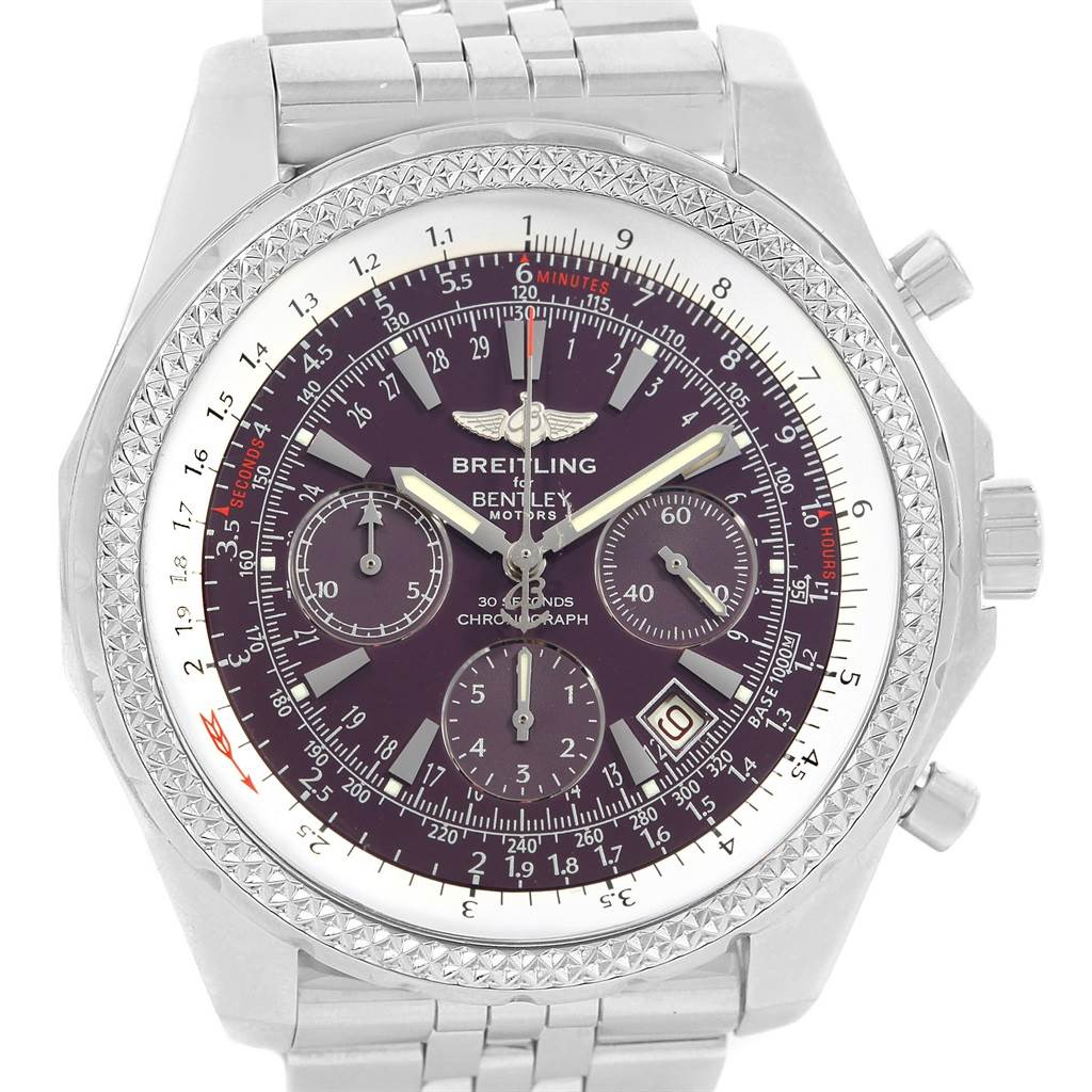 18651 Breitling Bentley Motors Burgundy Dial Chronograph Mens Watch A25362 SwissWatchExpo