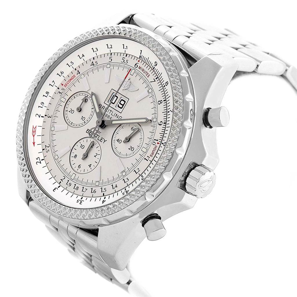 Breitling Bentley Motors Chrono Silver Dial Steel Mens Watch A44362 SwissWatchExpo