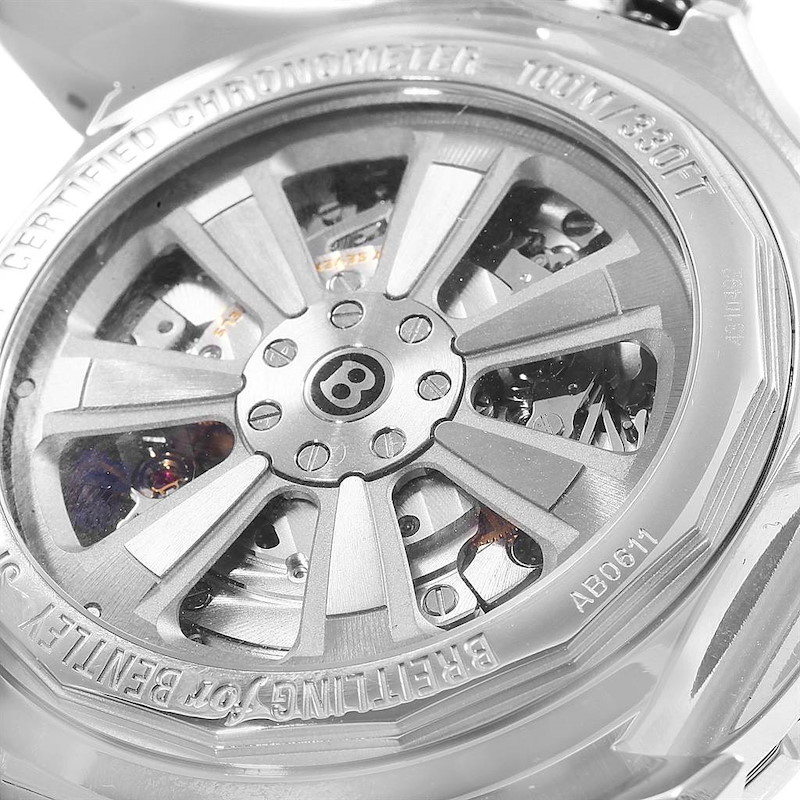 Breitling Bentley B06 Silver Dial Black Strap Watch AB0611 Box Papers SwissWatchExpo