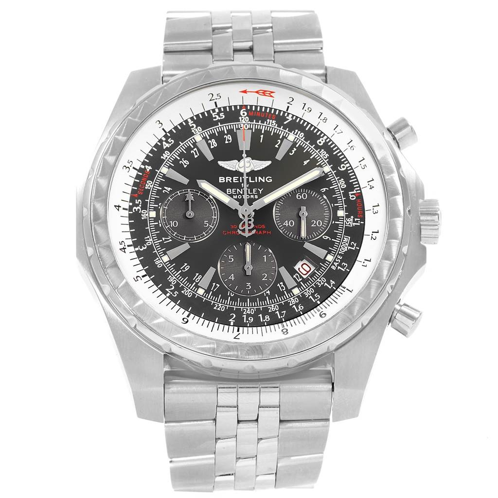 Breitling Bentley Motors T Grey Dial Chronograph Watch A25363 Box Papers SwissWatchExpo