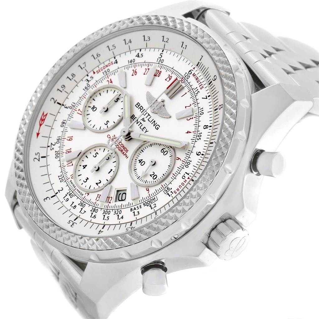 18768 Breitling Bentley Motors Silver Dial Chronograph Watch A25362 Box Papers SwissWatchExpo