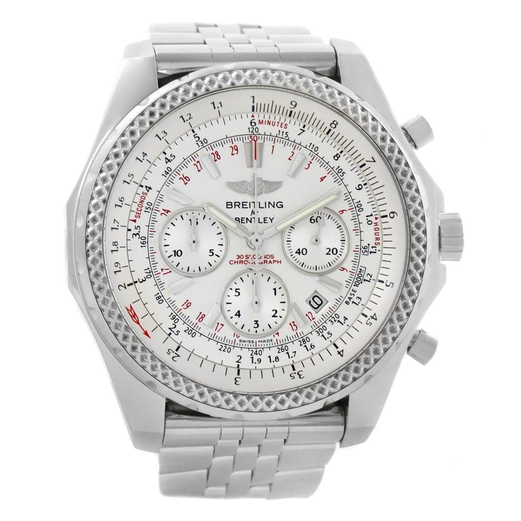 Breitling Bentley Motors Silver Dial Chronograph Watch A25362 Box Papers SwissWatchExpo