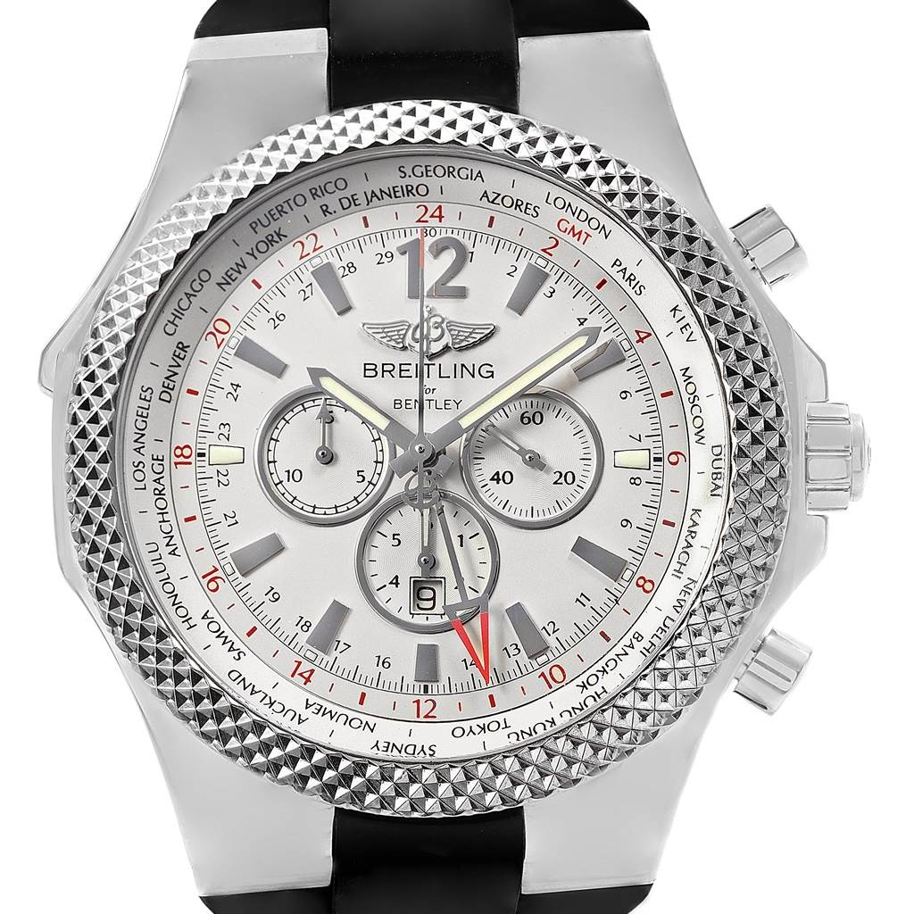 5577X Breitling Bentley GMT Silver Dial Chronograph Steel Mens Watch A47362 SwissWatchExpo