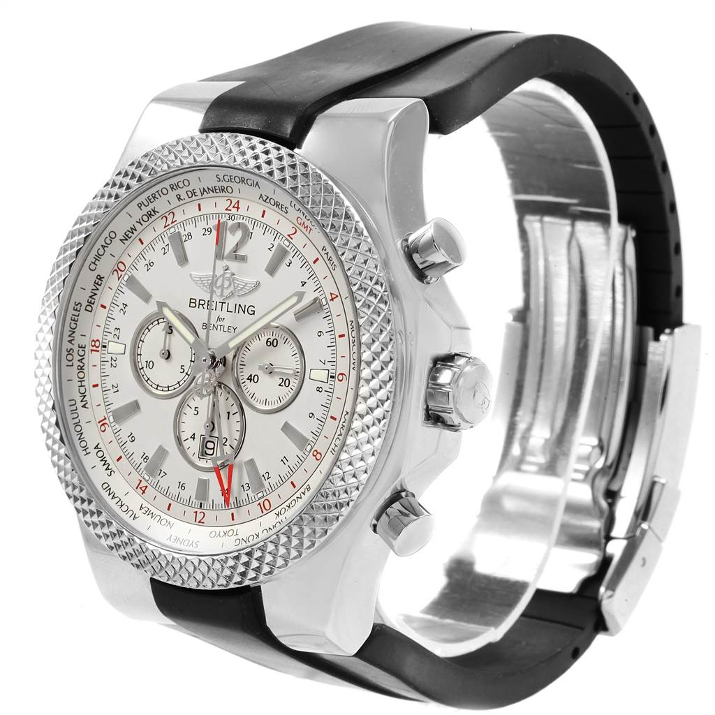 Breitling Bentley GMT Silver Dial Chronograph Steel Mens Watch A47362 SwissWatchExpo