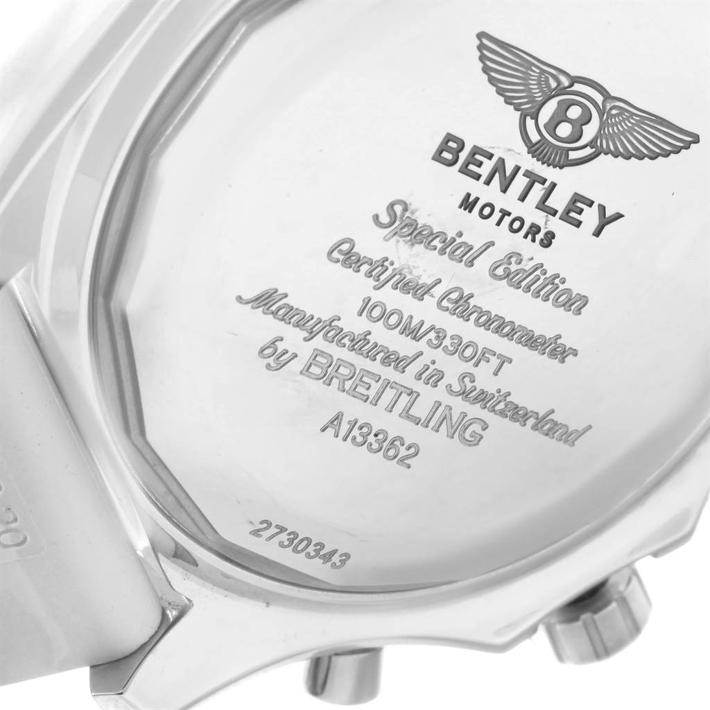 Breitling For Bentley Rubber Strap: Breitling Bentley Motors GT White Dial Rubber Strap Mens