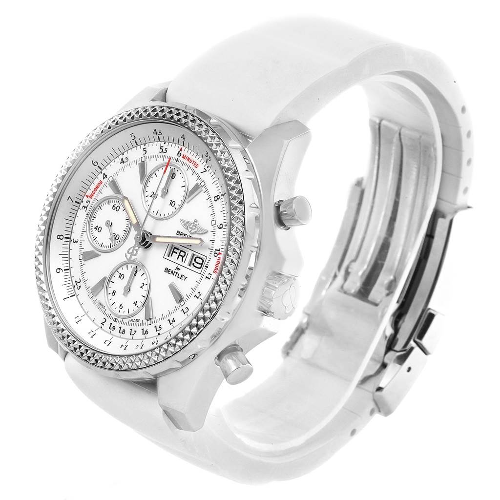 19562 Breitling Bentley Motors GT White Dial Rubber Strap Mens Watch A13362 SwissWatchExpo