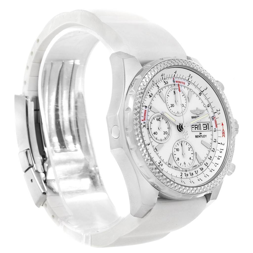 Breitling Bentley Motors GT White Dial Rubber Strap Mens Watch A13362 SwissWatchExpo