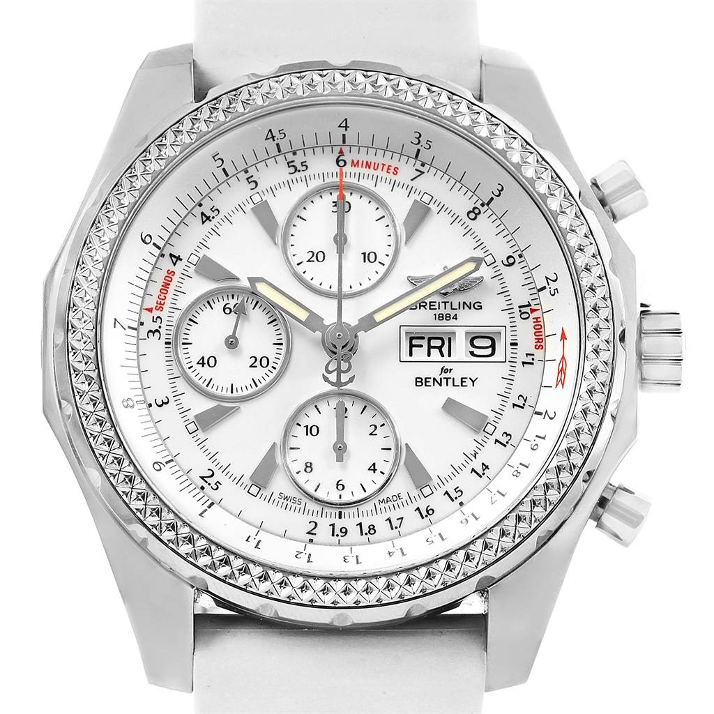 Breitling Bentley Motors Gt White Dial Rubber Strap Mens Watch A13362