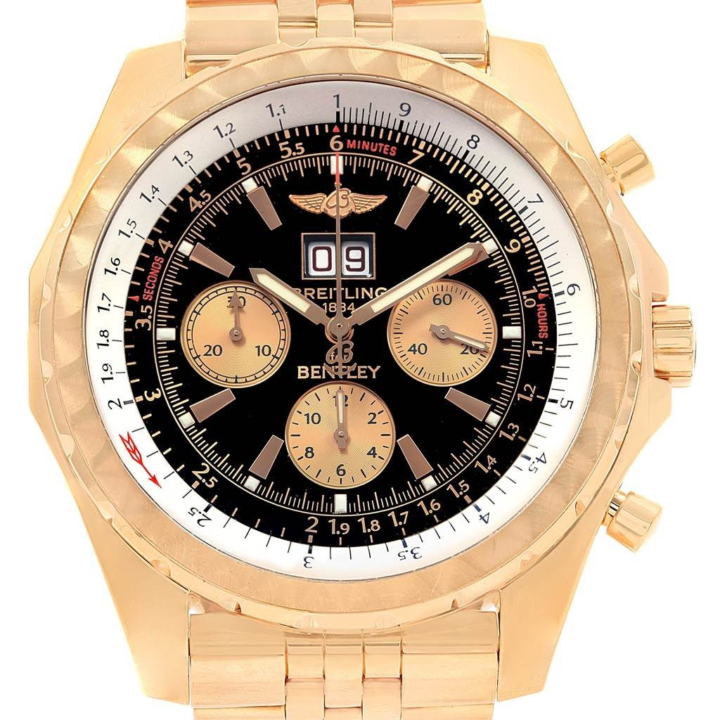 19733 Breitling Bentley 6.75 Rose Gold Black Dial Chronograph LE Watch H44363 SwissWatchExpo