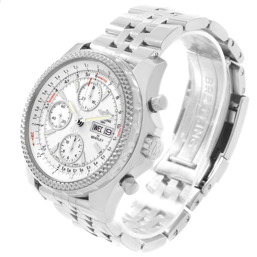 19688 Breitling Bentley Motors GT White Dial Mens Watch A13362 Box Papers SwissWatchExpo