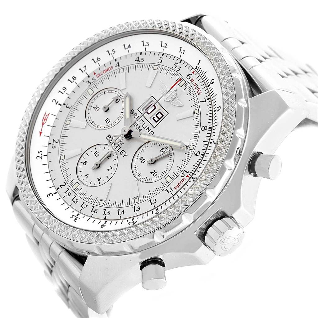 19873 Breitling Bentley Motors Silver Dial Chronograph Mens Watch A44362 SwissWatchExpo