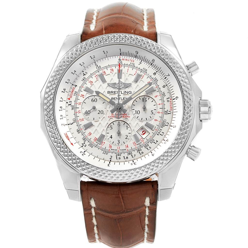 Breitling Bentley B06 Silver Dial Brown Strap Watch AB0611 Unworn SwissWatchExpo