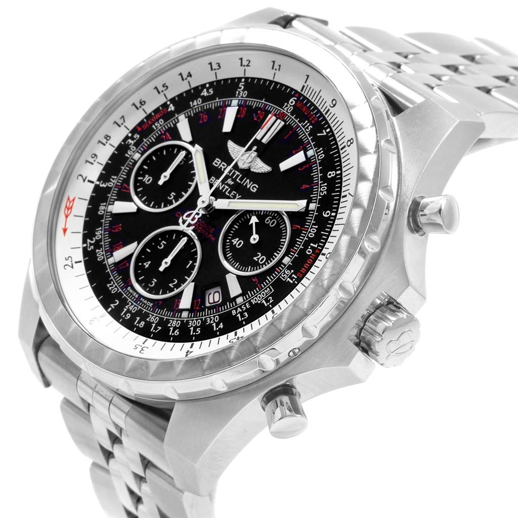 20188 Breitling Bentley Motors T Black Dial Chronograph Watch A25363 Box SwissWatchExpo