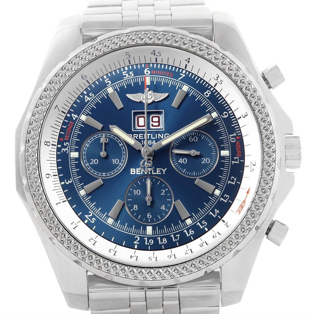 20084 Breitling Bentley Motors Blue Dial Chronograph Watch A44362 Box papers SwissWatchExpo