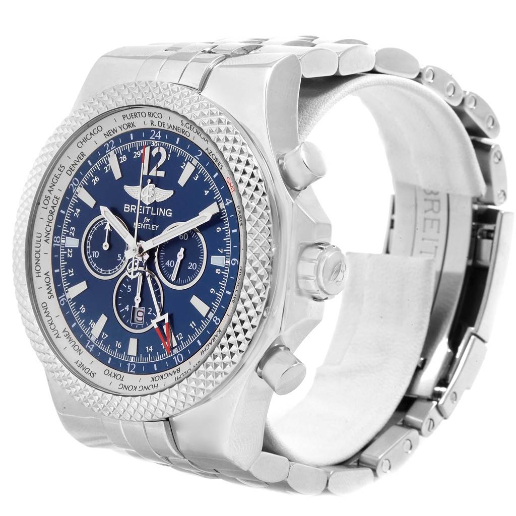 20189 Breitling Bentley GMT Blue Dial Chronograph Steel Mens Watch A47362 SwissWatchExpo
