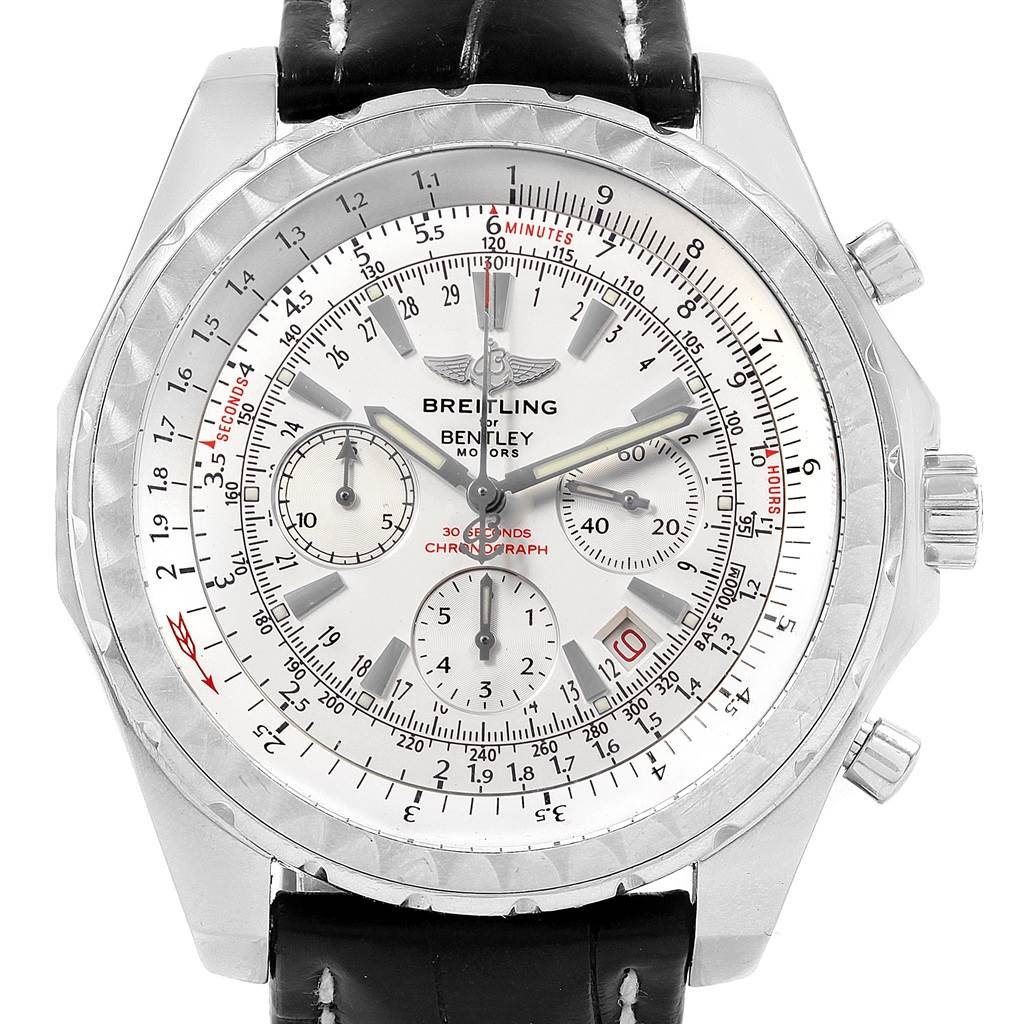 Breitling Bentley Motors Chronograph Silver Dial Mens Watch A25362 SwissWatchExpo
