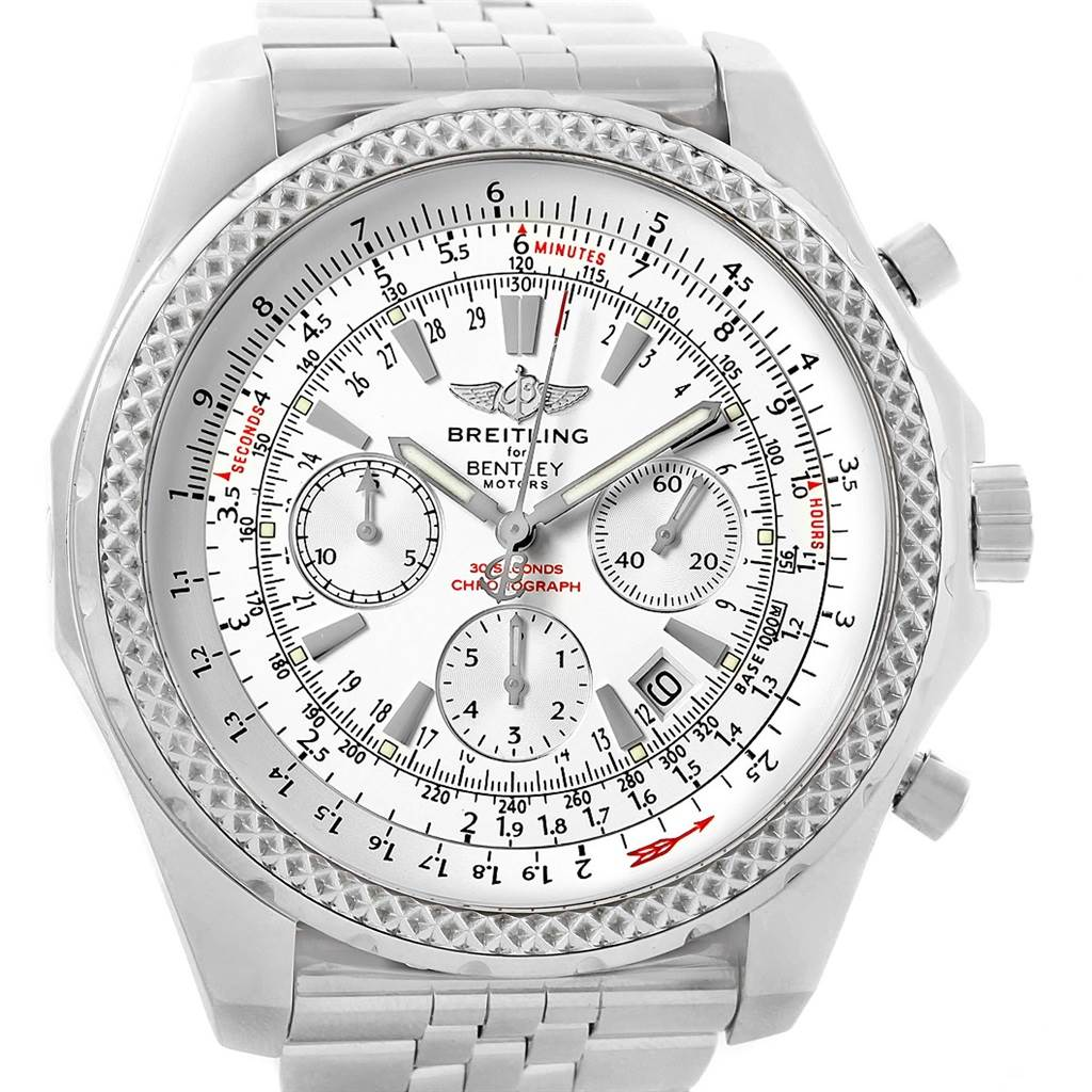 20452 Breitling Bentley Motors Silver Dial Chronograph Watch A25362 Box SwissWatchExpo