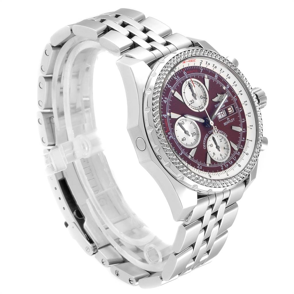 Breitling Bentley Motors GT Burgundy Dial Mens Watch A13362 Box Papers SwissWatchExpo