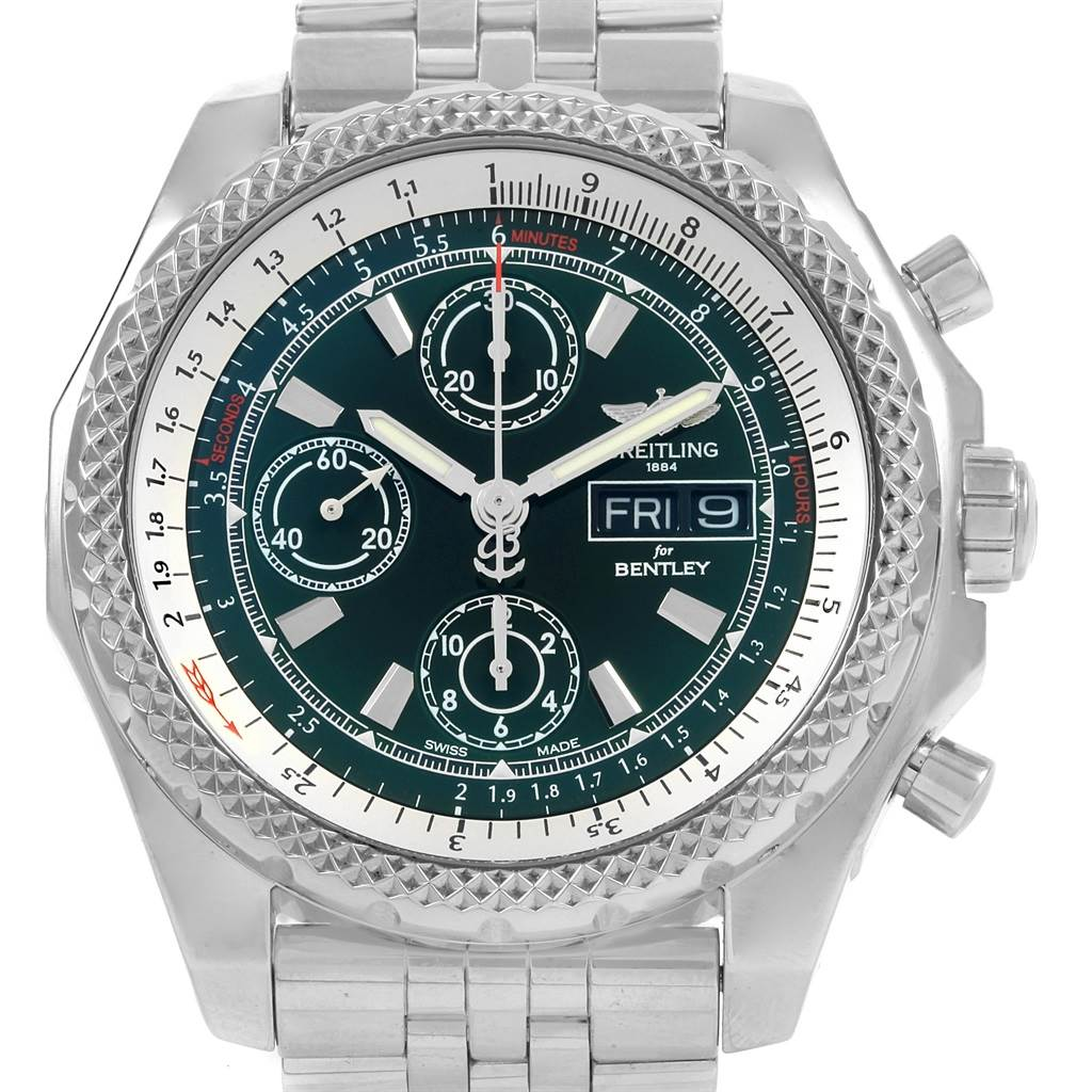 21314 Breitling Bentley Motors GT II Green Dial Mens Watch A13365 Box Card SwissWatchExpo