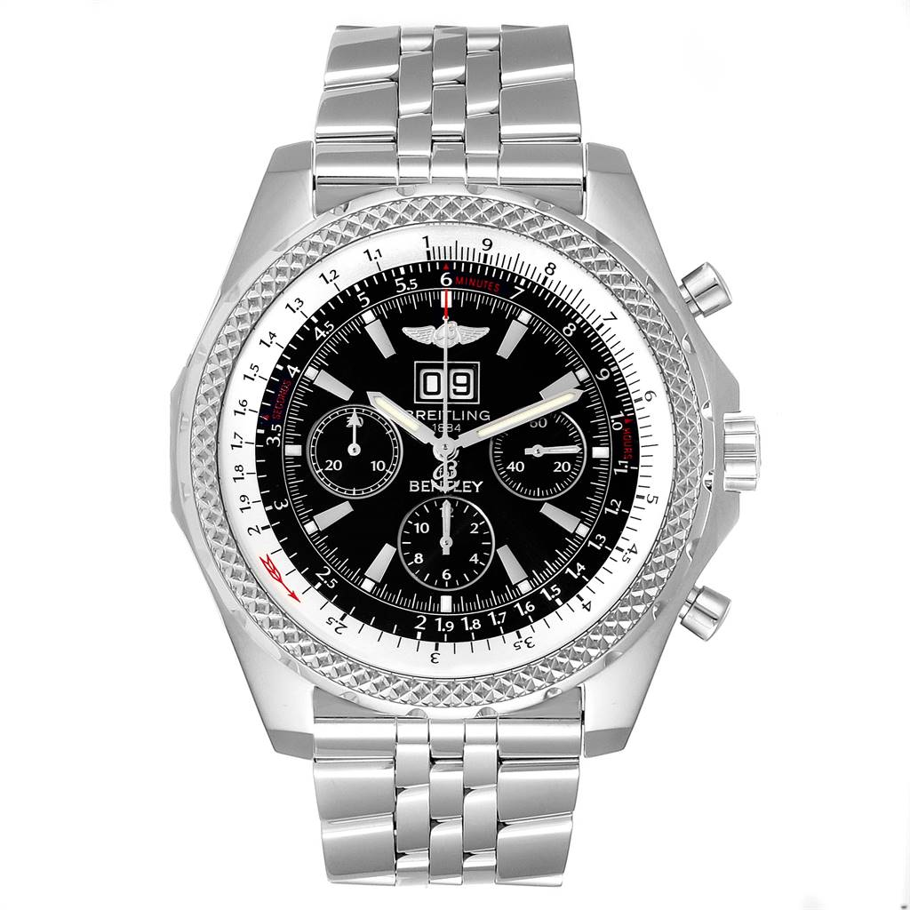 Breitling Bentley Motors 6.75 Chrono Black Dial Mens Watch A44362 Box Papers SwissWatchExpo