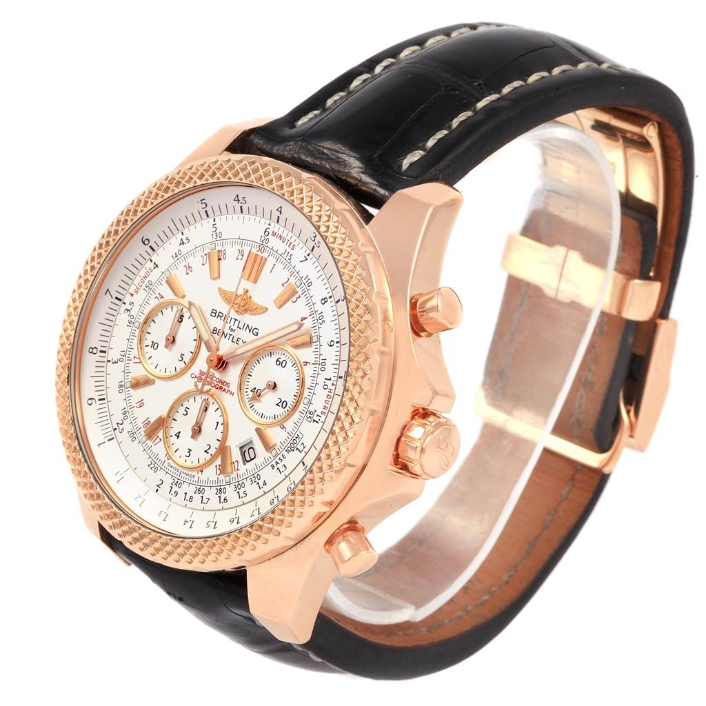 21433 Breitling Bentley Rose Gold Silver Dial Chronograph Watch R25367 SwissWatchExpo