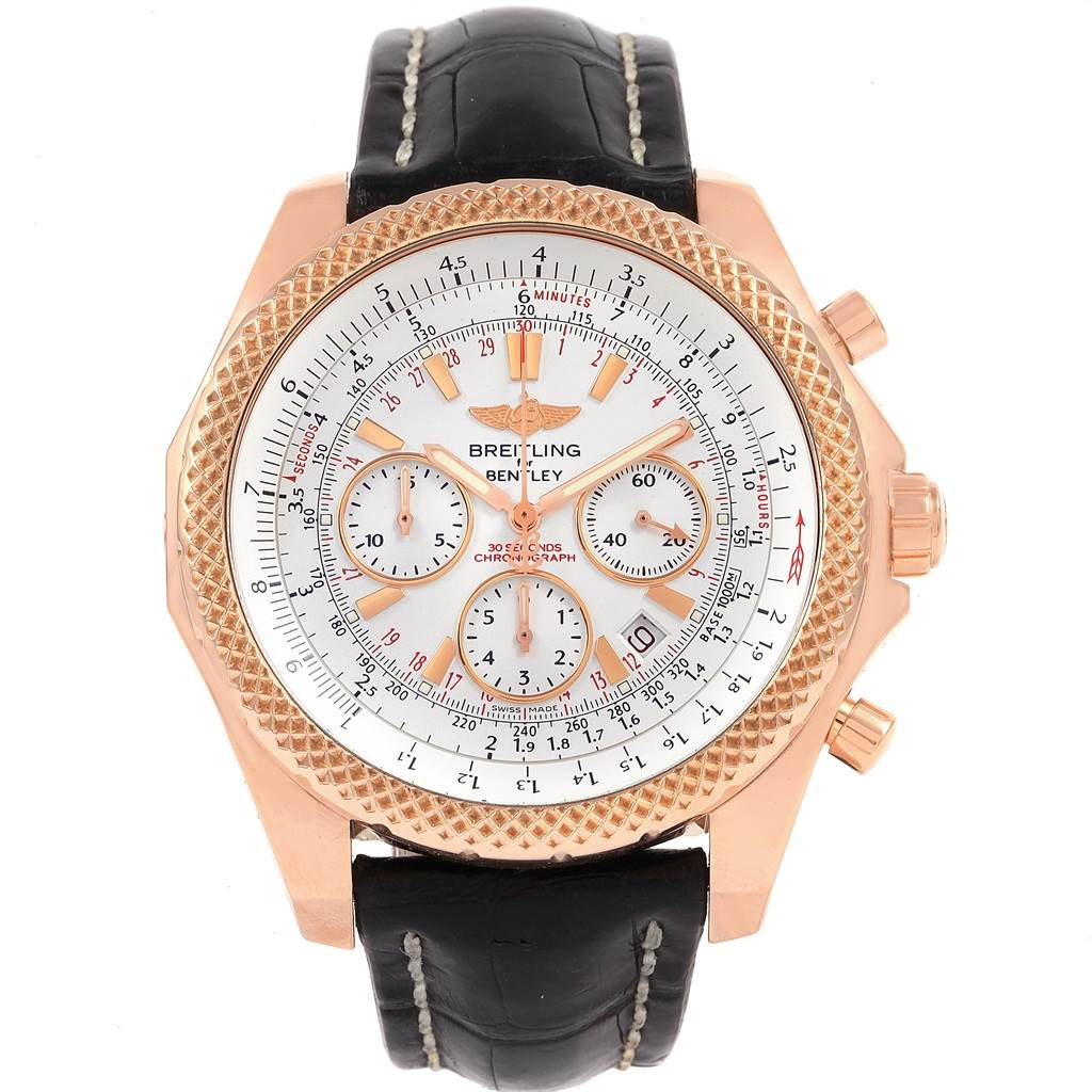 Breitling Bentley Rose Gold Silver Dial Chronograph Watch R25367 SwissWatchExpo