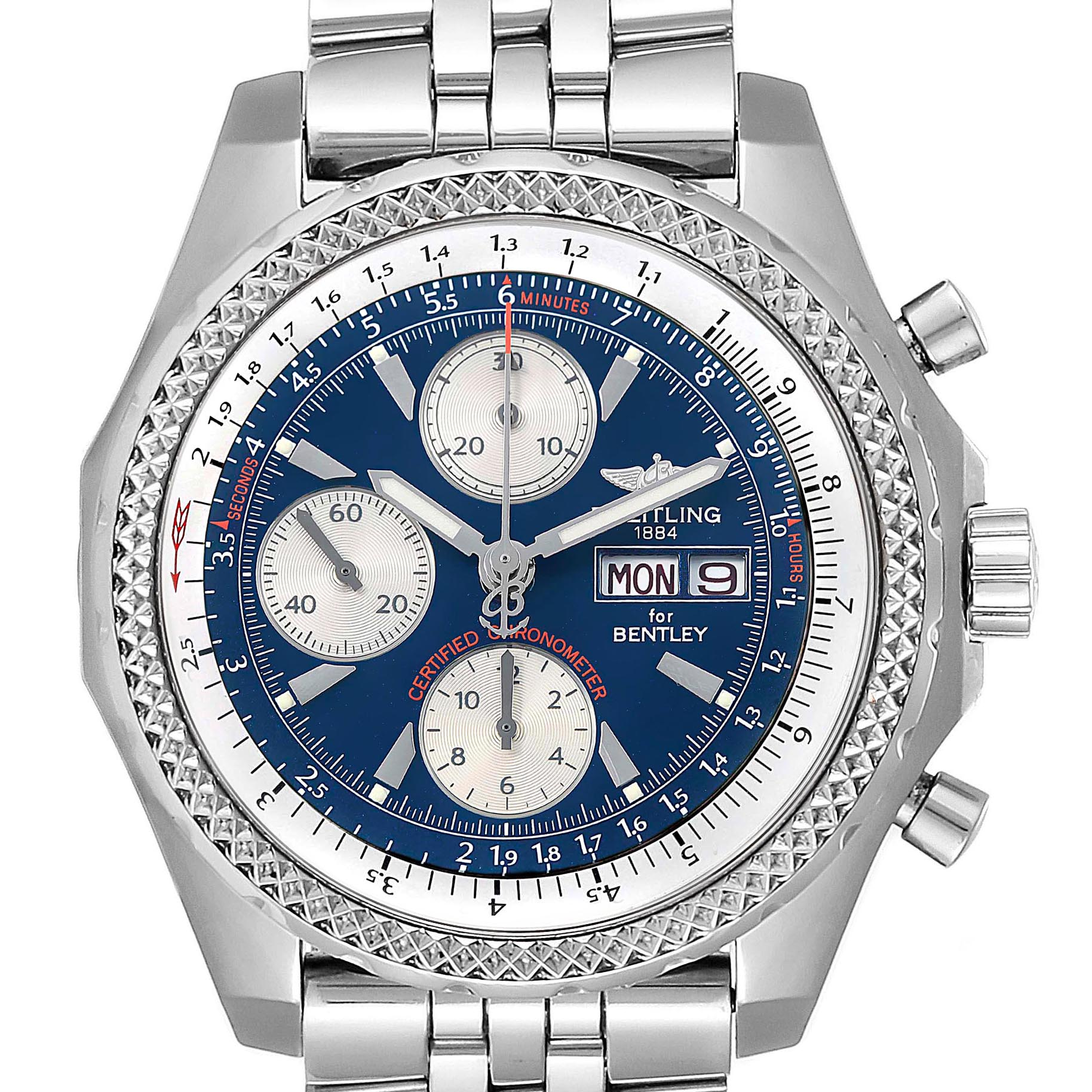 Breitling Bentley Motors GT Blue Dial Sreel Mens Watch A13362 SwissWatchExpo