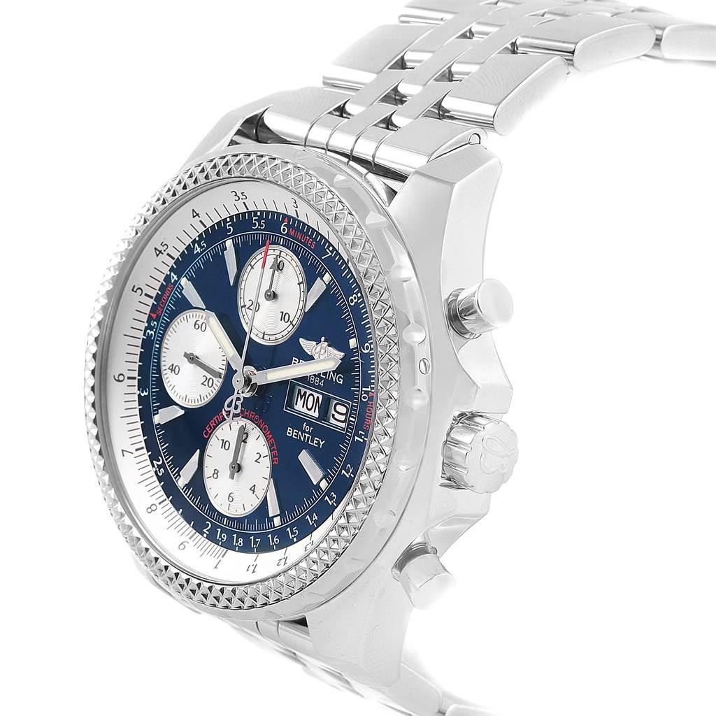 21464 Breitling Bentley Motors GT Blue Dial Sreel Mens Watch A13362 SwissWatchExpo