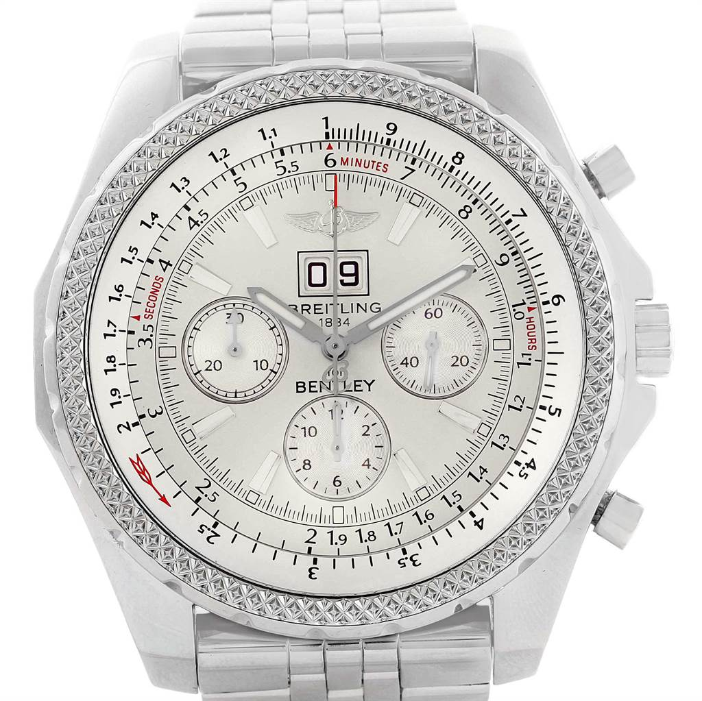 21689 Breitling Bentley Motors Silver Dial Chronograph Watch A44362 Box Papers SwissWatchExpo