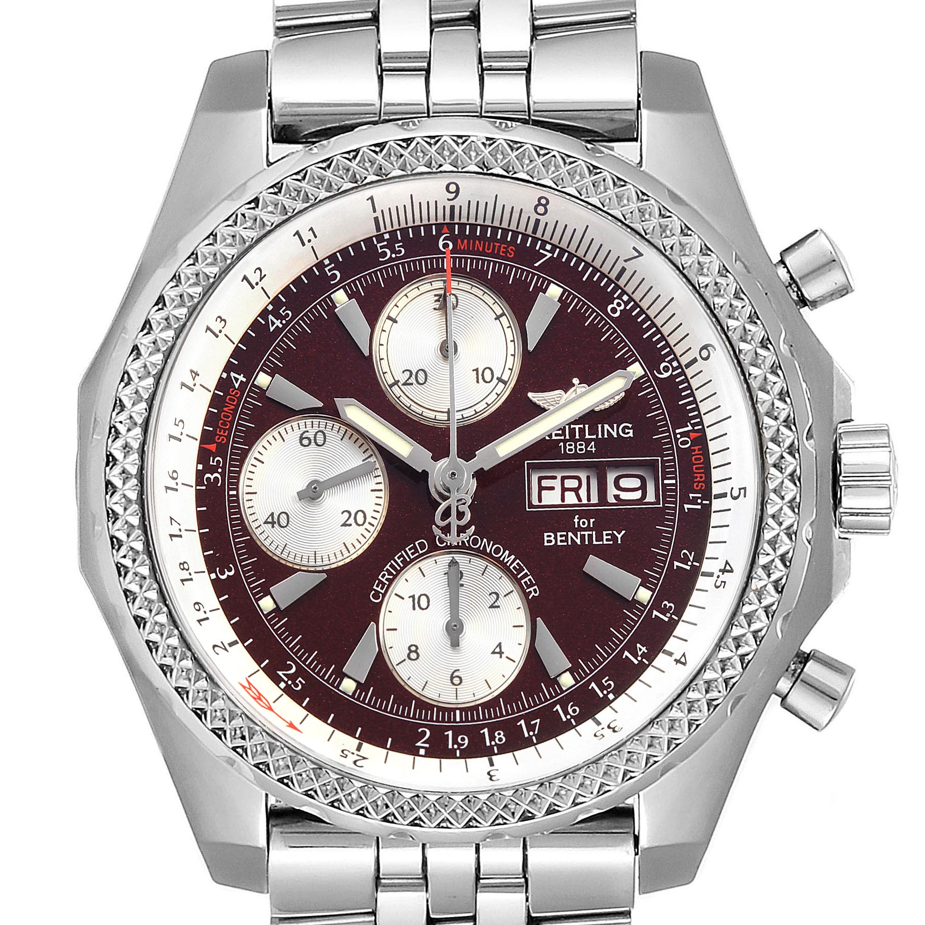 Breitling Bentley Motors GT Burgundy Dial Chronograph Watch A13362 SwissWatchExpo