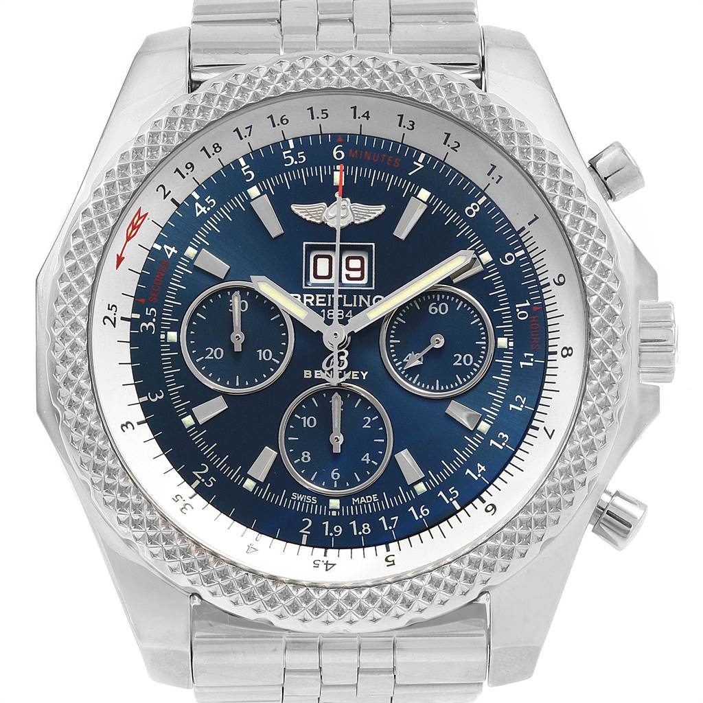 21687 Breitling Bentley 6.75 Speed Chronograph Blue Dial Mens Watch A44364 SwissWatchExpo