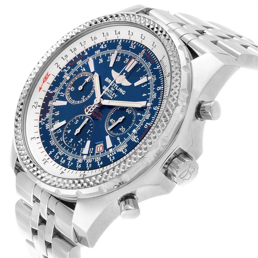22020 Breitling Bentley Motors Blue Dial Chronograph Watch A25362 Box SwissWatchExpo